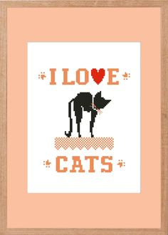 BoGo FREE! buy one get one free!cat#I Love Cats#instant download#pdf file# easy cross stitch#counted cross stitch #animal picture#CAT#LOVE# Easy Cross, Simple Cross Stitch, Cross Stitch Designs, Cross Stitch Patterns, Write To Me, Buy One Get One, Digital Pattern, I Love Cats, My Etsy Shop