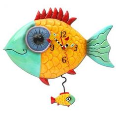 Allen Designs Wide Eye Fishy Hand Painted Pendulum Whimsical Wall Clock for sale online Clock Art, Wall Clocks, Pendulum Wall Clock, Clocks For Sale, Kids Clocks, Wall Clock Design, Fish Design, Tropical Fish, Wall Signs
