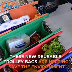These MAGIC, Reusable Grocery Trolley Bags (SET of FOUR BAGS) are your new Shopping Companion! No more need for those environmentally unfriendly, plastic bags. Trolley Bags, Simple Life Hacks, Cool Inventions, Home Hacks, Diy Crafts Videos, Cool Stuff, Organization Hacks, Organizing, Good To Know