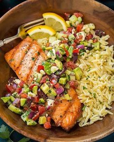 Grilled Salmon with Avocado Greek Salsa and Orzo By @cooking last . Follow her @cooking classy Yield: 4 servings Ingredients 1 cup dry orzo 4 (6 oz) skinless salmon fillets 3 Tbsp olive oil, divided, plus more for brushing grill Salt and freshly ground black pepper 2 small Roma tomatoes, diced (1 cup) 1/2 of a cucumber, peeled and chopped (1 cup) 1/3 cup chopped red onions 1/3 cup chopped kalamata olives 2 garlic cloves, minced (2 tsp) 1 medium avocado, peeled and diced 1/2 cup crumbled…