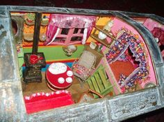 gypsy wagon interior - miniature for our fairy friends so that they may go along!