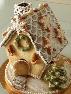 I have a gingerbread house cutter set that is very similar!   This house looks paler, so maybe a sugar cookie dough?   Either way, I Love this.
