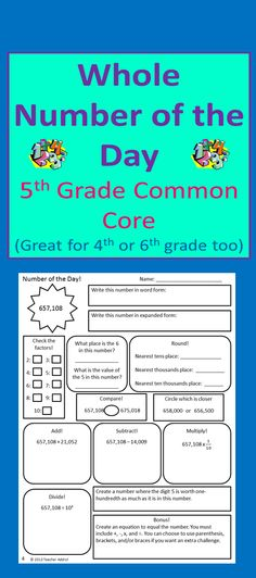 """This product is a """"Number of the Day"""" for whole numbers. There are 20 pages included. You can choose to have students complete this whole page in one sitting, or you can choose to split up the components into two or more days.  I specifically aligned this to 5th grade, but this could also easily work for 4th or 6th grade. $"""