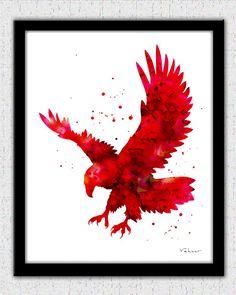 Eagle print red eagle print bold eagle art by FluidDiamondArt