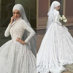 Muslim Vintage Lace Bridal Dresses With Hijab Veil Wedding Gowns High Collar Full Sleeves Button Vestido De Noiva Casamento Arabic Wedding Dresses, Muslim Wedding Dresses, 2016 Wedding Dresses, Wedding Dress Trends, Cheap Wedding Dress, Bridal Dresses, Dresses 2016, Wedding Gowns, Lace Wedding