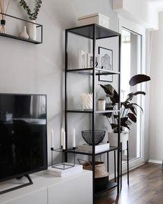 home decor ikea living room inspo Home Living Room, Living Room Designs, Gray Living Room Walls, Black And White Living Room Decor, Kitchen Living, Grey Wall Decor, Black Decor, White Decor, Grey Walls