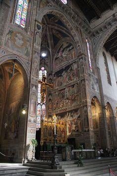 """Firenze, Cappella Maggiore,  Basilica di Santa Croce - Agnolo Gaddi - Ciclo di affreschi """"La leggenda della Vera Croce"""" - 1380 -1390"""
