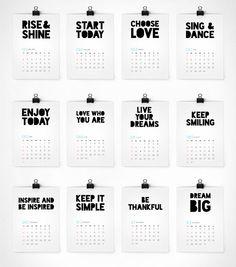 NEW! Сalendar 2015, wall calendar, 2015 calendar, calendar print, inspirational calendar, wall decor,motivational print,christmas gift ideas