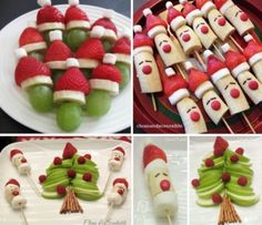 Banana Strawberry Santas and Apple Christmas TreeWhy not try one of these super simple, healthy and cheap holiday treats this festive season! Click the photo to be taken to the recipe for the coconut snowballs and santa hat brownies! Sammy xIf you're Easy Christmas Candy Recipes, Christmas Party Food, Christmas Brunch, Xmas Food, Christmas Breakfast, Christmas Appetizers, Christmas Cooking, Christmas Desserts, Holiday Treats