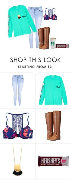 """Pink"" by amaya-leigh ❤ liked on Polyvore featuring Glamorous, Victoria's Secret, Madden Girl, Madewell and Hershey's"