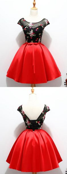 Lace-Up Homecoming dress, Red Satin Short Prom Dress with Appliques, Party Dress for girls