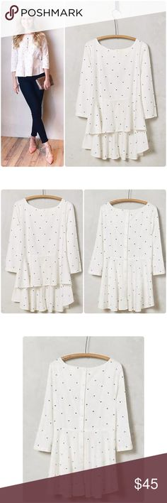 """💃HP💃Anthropologie Dotty Peplum Top NWT Ditty Peplum Top by Maeve Anthropologie ❤️.                          Cotton Button back Hand wash Imported  Front 23.5"""" Back 26"""" ( hi-low) bust 22"""" Tag Says 16 but runs small so would fit 12/14 Anthropologie Tops"""