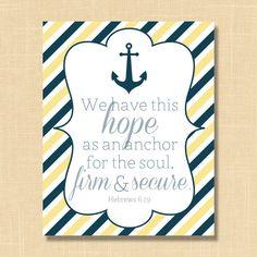 Items similar to Hebrews 6:19 Anchor Bible Verse Printable 8x10 Nautical Anchor Digital Art on Etsy