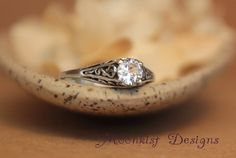 Dainty White Sapphire Filigree Engagement Ring in Sterling Silver - Vintage Style White Sapphire Wedding Ring -  Filigree Solitaire