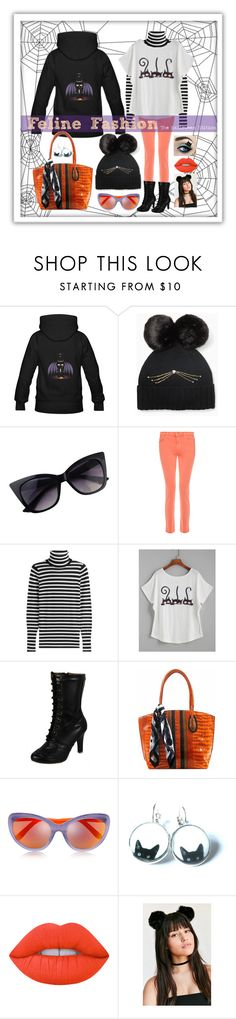 """""""Feline Fashion: The Halloween Edition"""" by ms-ironickel ❤ liked on Polyvore featuring Kate Spade, J Brand, Steffen Schraut, Demonia, Markus Lupfer and Lime Crime"""