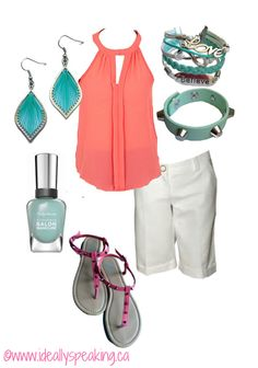 Cute summer outfit! Sleeveless coral top with turquoise accessories.