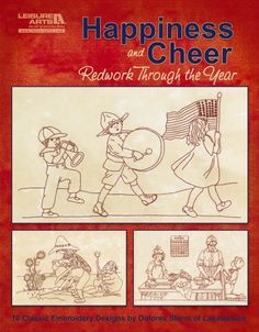 Leisure Arts - Happiness and Cheer, Redwork through the Year eBook, $9.99 (http://www.leisurearts.com/products/happiness-and-cheer-redwork-through-the-year-ebook.html)
