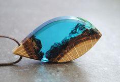 Resin Wood Necklace Blue Drop Pendant Landscape Necklace