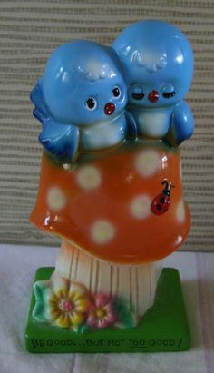 1971 American Greetings bluebirds on a mushroom with a ladybug Bluebirds, American Greetings, Lady Bug, My Childhood, Smurfs, Stuffed Mushrooms, Japan, Cute, Etsy