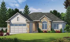 Find your dream traditional style house plan such as Plan which is a 1516 sq ft, 3 bed, 2 bath home with 2 garage stalls from Monster House Plans. House Plans And More, Best House Plans, Small House Plans, Bungalow House Plans, Ranch House Plans, Stone Exterior Houses, French Country House Plans, Country French, Ranch Style Homes