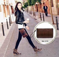 513 Bolso Sendra python cremoisi & sheriff testa #Lookbook #Biker #Cowboy #Trend #Fashion