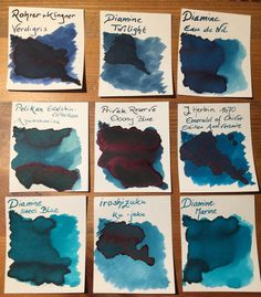 Tinte Ink Petrol: Rohrer & Klingner: Verdigris; Diamine: Steel Blue, Marine, Twilight, Eau de Nil; Pelikan Edelstein Collection: Aquanarine; Private Reserve: Ebony Blue; J. Herbin Édition Anniversaire: Emerald of Chivor, iroshizuku: ku jaku