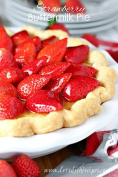 STRAWBERRY BUTTERMILK PIE — A classic Southern buttermilk pie meets a fresh glazed strawberry pie in this delightful dessert mash-up that's perfect for spring and summer. #strawberry #pie #dessert