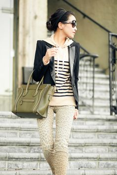 Blazer over hood sweater for casual look and worm feeling