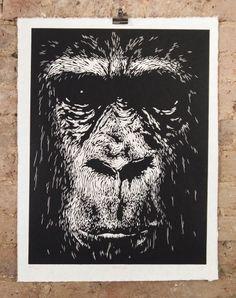 Mervyn ~ Woodcut on Japanese paper, 51 x 68 cm ~ Alex Binnie