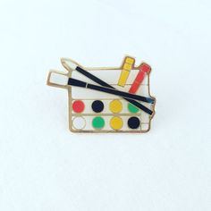 Vintage Paint Set Enamel Pin Watercolor Art by besosvintage