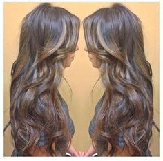 Chocolate brown with gold highlights. Love this look because the brown looks like my natural hair color, perfect for not having to keep up with the look!
