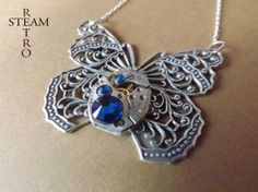 Collar Steampunk mariposa / Steamretro, joyería steampunk - Artesanio