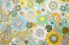 Liberty Fabric Small Susannah Yellow Green Aqua by PickClickSew,