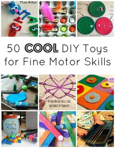Here are 50 cool DIY Toys that promote Fine Motor Skills Development! These toys can be made using recyclables, household items and craft supplies.