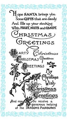 "Christmas Greetings - Christmas Wish // Clear stamps pack (4""x7"") FLONZ Flonz http://www.amazon.com/dp/B00DKJ409K/ref=cm_sw_r_pi_dp_ktjHub1DQTYM8"