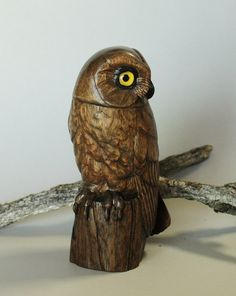 Hand Carved Owl Wood Carving Stylized Saw Whet Owl Bird Wildlife Art Collectible Wildlife Art Wood Sculpture Anniversary Gift