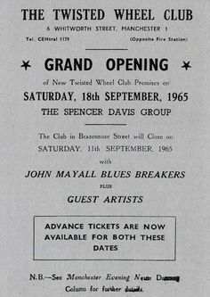Famed Manchester nightclub the Twisted Wheel welcomed back the Spencer Davis Group on September 18, 1965 for its first night in a new location.