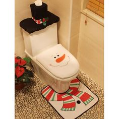 Christmas Decoration Snowman Pattern 3PCS Toilet Seat Cushion Cover Set
