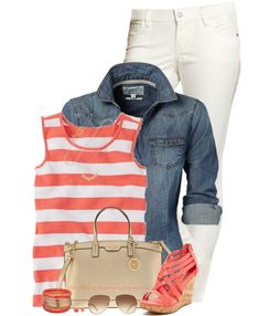 Stripe tank top with chambray shirt spring outfit