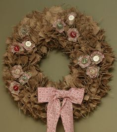 Stampin' Up!  Deck The Halls Fabric  Heather Summers  Burlap Christmas Wreath