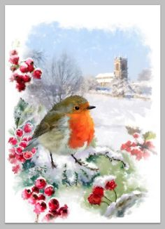 William Simpson - Screen shot at Christmas Bird, Christmas Scenes, Christmas Clipart, Retro Christmas, Christmas Baubles, Christmas Pictures, Christmas Crafts, Dandelion Wallpaper, Watercolor Wallpaper