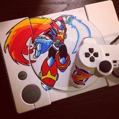 Mega Man - Playstation 1 by Clamsta Customs https://www.facebook.com/ClamstaCustoms  #megaman#playstation#custompainted#posca