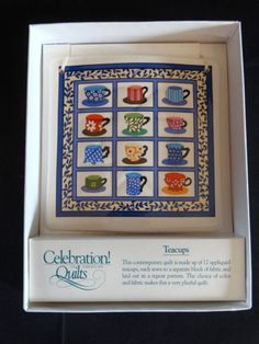 Celebration-of-American-Quilts-Ceramic-Tile-Ornament-TEACUPS-MIB