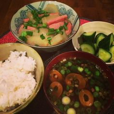 Winter melon, pickled cucumber, red miso soup and of course rice.