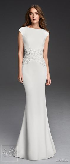 Simple Wedding Dresses Inspired by Meghan Markle | Bateau neckline sleeveless wedding Dress by Alma Novia | Royal wedding sexy elegant bridal gown  #weddingdress #weddingdresses #bridalgown #bridal #bridalgowns #weddinggown #bridetobe #weddings #bride #weddinginspiration #dreamdress #fashionista #weddingideas #bridalcollection #bridaldress #fashion #dress See more gorgeous bridal gowns by clicking on the photo