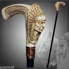 INDIAN CHIEF WALKING STICK CANE