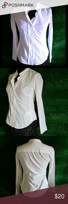 James Perse Button down Striped Blouse Awesome James Perse Button down Striped too with traditional cotton stretchy sides. Excellent condition James Perse Tops Button Down Shirts
