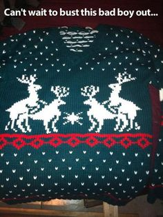 Ugly sweater time!! Love the deer!!