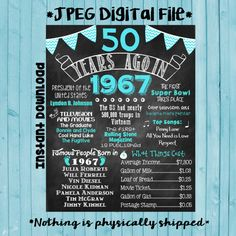 50th Birthday Chalkboard 1967 Poster 50 Years Ago in 1967 Born in 1967 50th Birthday Gift INSTANT DOWNLOAD