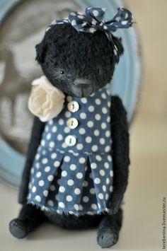 Мишка Матильда.............. - чёрный,мишка тедди,мишка девочка,мишка в одежде